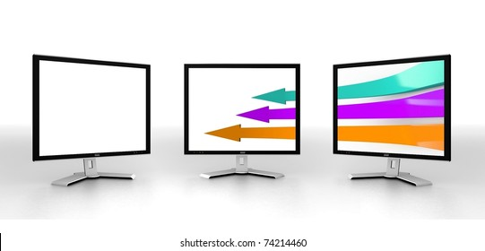Modern monitors isolated on white with arrows on screen. 3d illustration