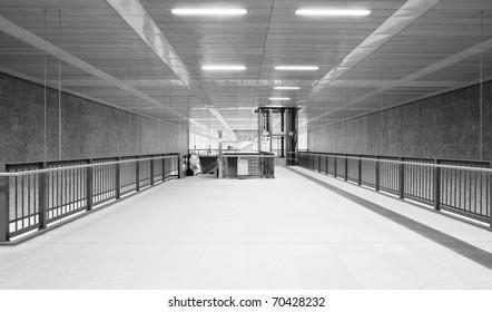 Modern monochrome underground station