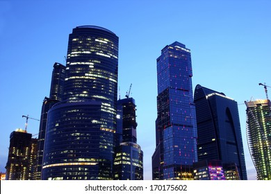 Modern Moscow at night. View of modern high-rise buildings