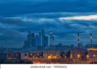 Modern Moscow view at night, Russia