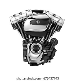 Modern Motorcycle Engine Isolated on White Background. Internal Combustion Engine
