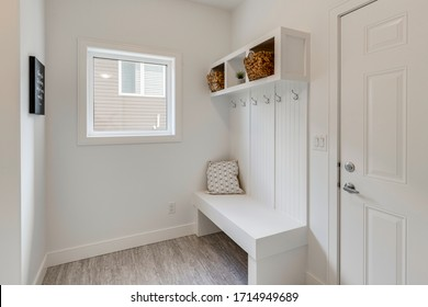 A modern mudroom interior in a new home
