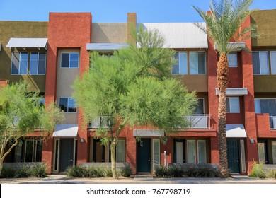Modern Multi Family Town Houses with Green Desert Landscaping