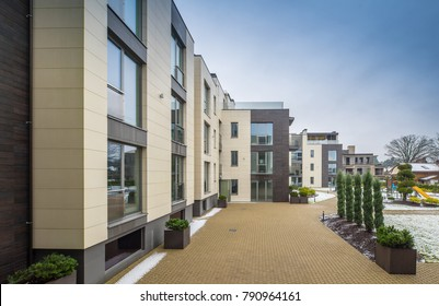 Modern multi-apartment complex.