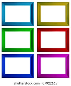 Modern multicolored frames with copy-space on a white background