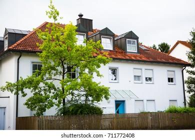 modern multi-family house, white facade, Germany