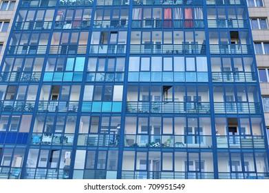Modern multi-storey house with glazed balconies