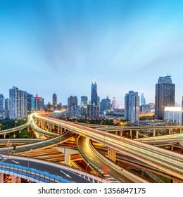 Modern multi-storey viaduct night view, Shanghai, China.
