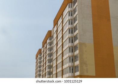 Modern multistory apartment building. Contemporary architecture. Building fragment. Apartment block. Residential building
