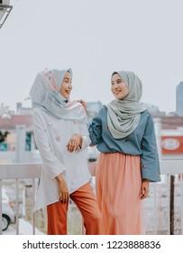 Modern Muslim girl fashion with hijab.Beautiful Muslim female model wearing hijab and casual outfit.