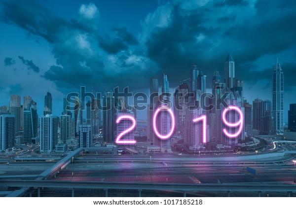 Modern Neon Glowing 2019 New Year Stock Photo (Edit Now