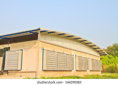 The modern and new automated fan poultry farm
