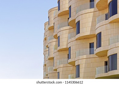 Modern new building with round balcony terrace in Kuwait
