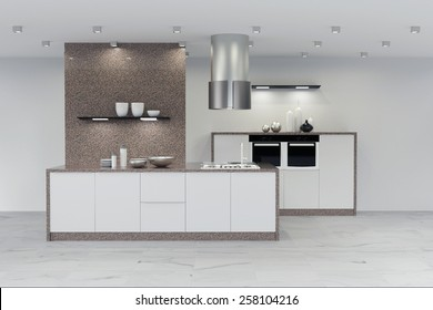 Modern new clean marble kitchen in white (3D Rendering)