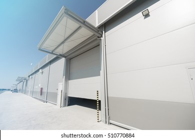 Modern new company warehouse building outdoors