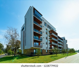 Modern new flat apartment real estate concept. Outdoor residential home facilities.
