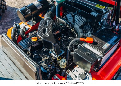 Modern new hi-tech engine of loader or small tractor.