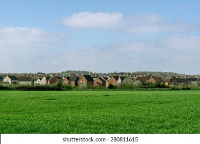 Modern new housing development, in rural Suffolk, England