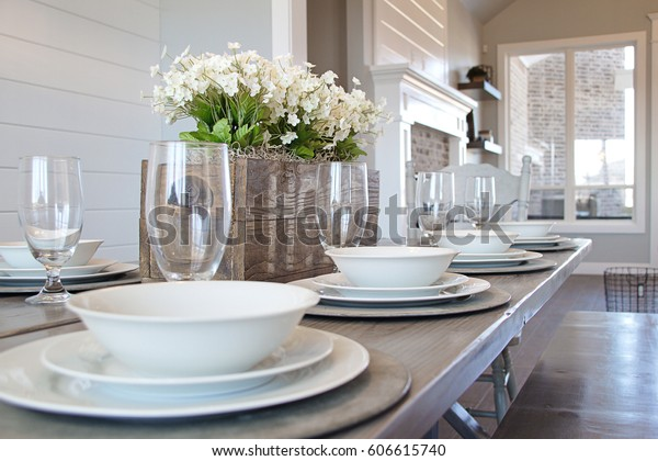 Modern New Kitchen Table Picnic Style Stock Photo (Edit Now ...