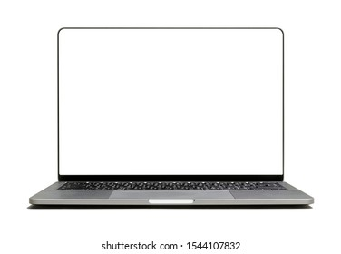 modern new laptop isolated, blank screen, center. ready for use