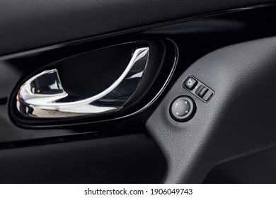 Modern new luxury automobile interior. Design and technology.