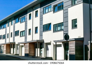 Modern new terraced houses and apartment flats in England UK, stock photo image