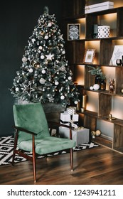 Modern New Year festive interior. Christmas decorations. Holiday concept