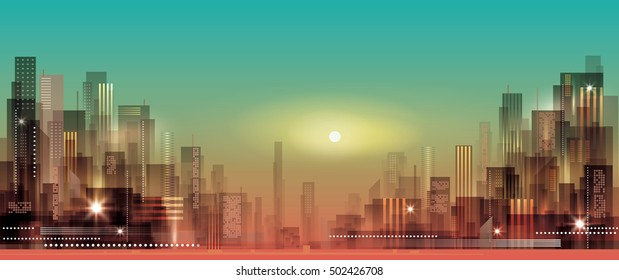 Modern night city cityscape in moonlight or sunset, with
