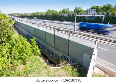 Modern noise protection wall on a german highway
