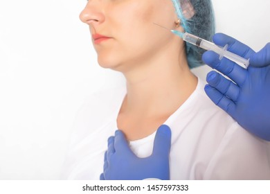Modern non-surgical method of treating facial vessels with sclerotherapy injection, white background, medical, sclerosant