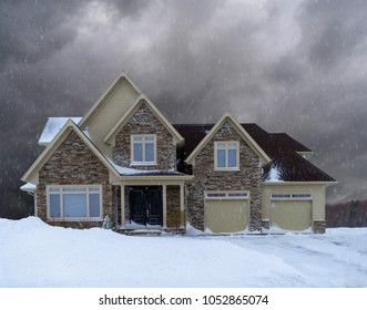 Modern North American home in winter.