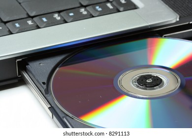 Modern notebook with opened DVD drive