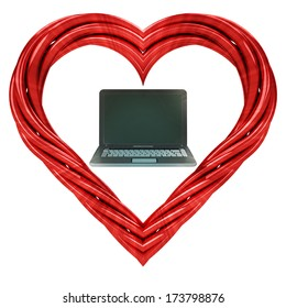 modern notebook in red pipe shaped heart isolated on white illustration