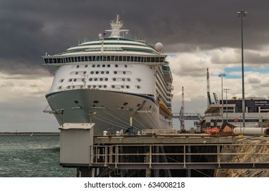 Modern Ocean Liner Cruise Ship at the Outer Harbor wharf area in Adelaide South Australia