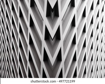 Modern office building with angular / rhombus structure of cells. Reworked abstract architecture photo.