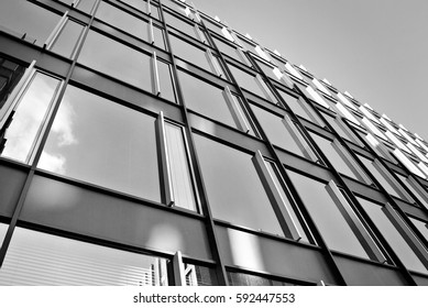 Modern office building. Black and white.