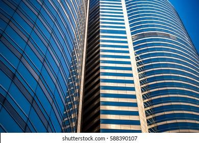 Modern office building detail, glass surface at Central, Hong Kong at FEB 2017