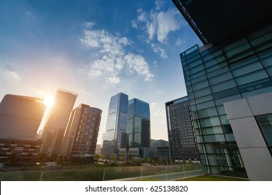modern office building exterior and cloudy skyline