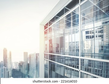 Modern office building with facade of glass