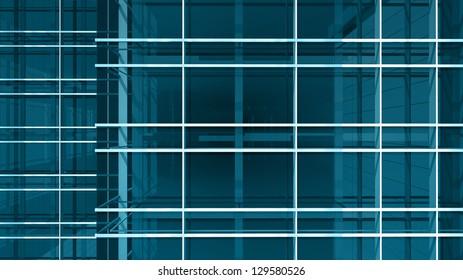 Modern office building facade, high resolution 3d render