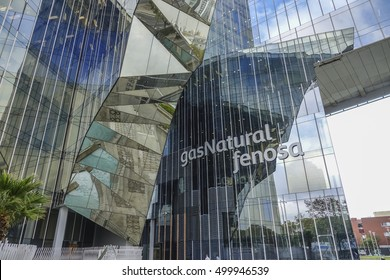 Modern office building of Gas Natural Fenosa Company in Barcelona - BARCELONA / SPAIN - OCTOBER 5, 2016
