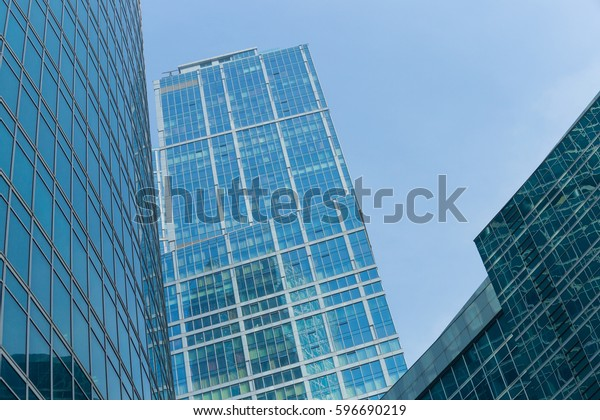 Modern Office Building Glass Facade Mirror Stock Image | Download Now