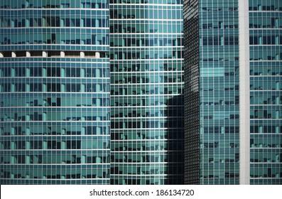 Modern office building glass skyscraper window  facade detail
