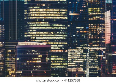 Modern office building in Moscow at night