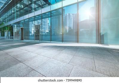 Modern office building outdoor and empty pavement , Kuala Lumpur , Malaysia .