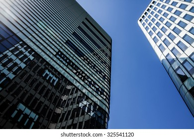 Modern office building tower in financial district