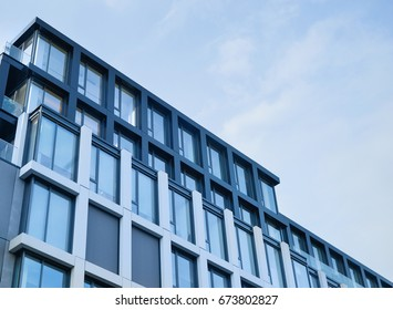 Modern office building with window screens