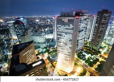 modern office buildings in downtown of tokyo at twilight