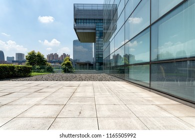 modern office buildings with empty ground  floor