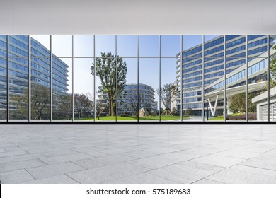 The modern office buildings from glass window